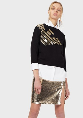 Emporio Armani Sweater With Sequin Maxi Eagle And Three-Quarter Length Sleeves