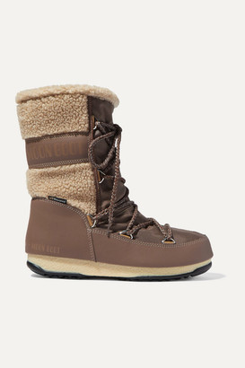 Moon Boot Monaco Mid Shell, Rubber And Wool Snow Boots - Brown