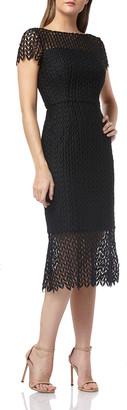 Kay Unger New York Boat-Neck Short-Sleeve Textured Lace Sheath Dress w/ Flounce Hem