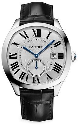 Cartier Drive de Stainless Steel & Black Alligator-Strap Watch