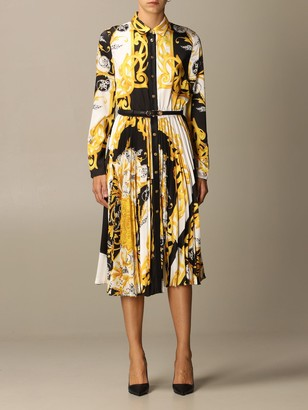 Versace Pleated Shirt Dress With Baroque Acanthus Print