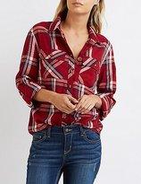 Charlotte Russe Lightweight Plaid Button-Up Shirt