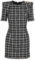 Balmain Monochrome Metallic Tweed Mini Dress