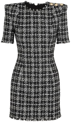 Balmain Monochrome metallic tweed mini dress