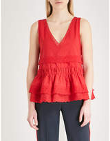 The Kooples Lace-trim flared cotton top