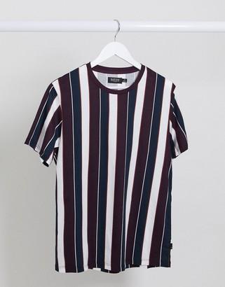 Burton Menswear t-shirt with wide stripe in burgundy & navy