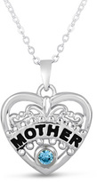 """Zales Simulated Birthstone """"Mother"""" Filigree Heart Pendant in Sterling Silver (1 Stone)"""