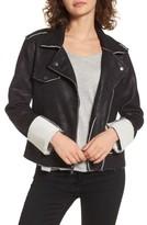 Splendid Women's Faux Suede & French Terry Bonded Moto Jacket