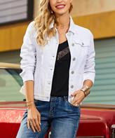 Suzanne Betro Women's Denim Jackets 101OPTIC - Optic White Band-Collar Denim Jacket - Women & Plus