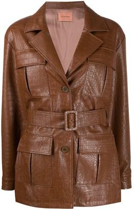 Andamane Faux Leather Croc-Effect Jacket