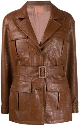 Andamane Faux Leather Croc-Effect Jacket