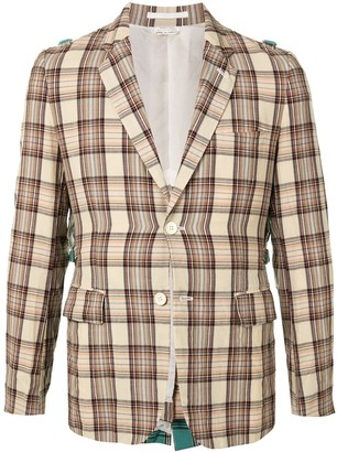 Comme Des Garçons Pre Owned Contrasting Panel Checked Blazer
