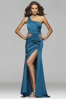 Faviana 7892 Faille satin asymmetrical one shoulder evening dress with sash and back cut-outs