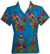 Alvish Hawaiian Shirt 39W Women Parrot Flower Aloha Beach Top Blouse XL
