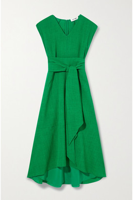 Cefinn Freya Belted Voile Midi Dress - Green
