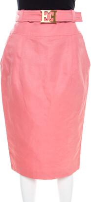 Escada Pink Slub Linen and Silk Logo Belt Detail High Waist Skirt M