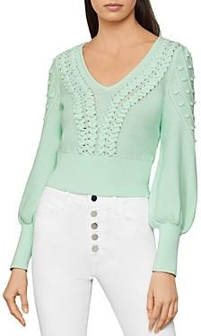 BCBGMAXAZRIA Bishop-Sleeve Cable Sweater
