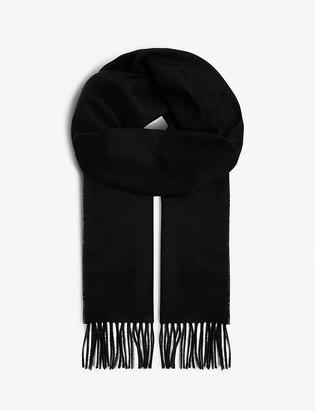 Johnstons Fringe-trim personalised cashmere scarf