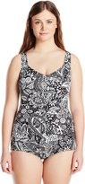 Maxine Of Hollywood Women's Plus-Size Patchwork Paisley Shirred Front Girl Leg One Piece Swimsuit