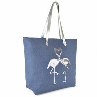Lora Dora Womens Metallic Shoulder Bag Flamingoes Navy