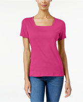 Karen Scott Petite Cotton Button-Detail Top, Only at Macy's