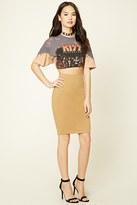Forever 21 FOREVER 21+ Cotton-Blend Pencil Skirt