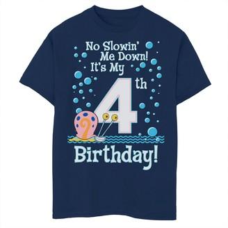 SpongeBob Squarepants Licensed Character Boys 8-20 Gary 4th Birthday Short Sleeve Tee