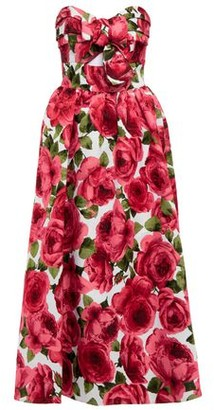 Michael Kors Strapless Cutout Pleated Bow-embellished Floral-jacquard Midi Dress
