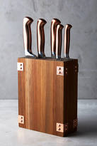 Anthropologie Wood & Copper Knife Block