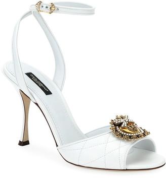 Dolce & Gabbana Devotion Stitched Sandals with Crest