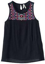 Mudd Girls 7-16 Embroidered Yoke Gauze Tank Top