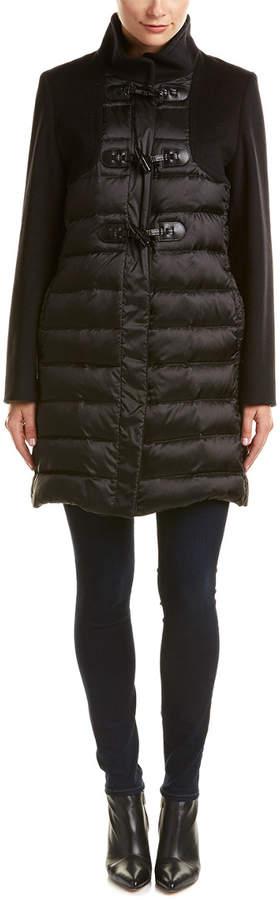 Cinzia Rocca Mixed Media Duffle Wool & Down Coat