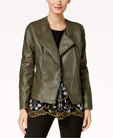 Alfani Petite Whipstitched Faux-Leather Jacket, Created for Macy's