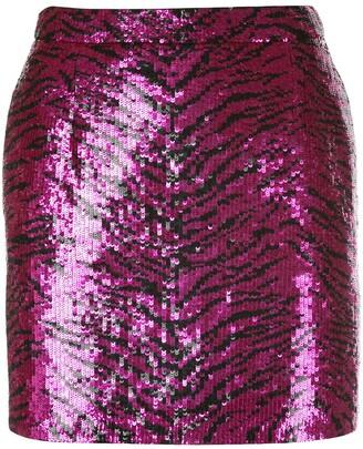 Saint Laurent sequinned zebra pattern mini skirt