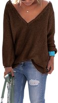VintageRose Womens Casual Autumn V Neck Loose Knit Pullover Solid Sweater
