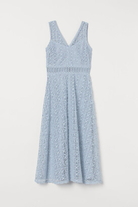 H&M Lace V-neck Dress - Blue