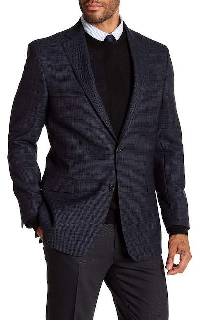 Brooks Brothers Charcoal Blue Houndstooth Two Button Notch Lapel Wool Regent Fit Sport Coat