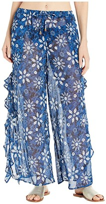 Bleu Rod Beattie Take A Dip Slide Ruffle Slit Pants Cover-Up (Navy/Multi) Women's Swimwear