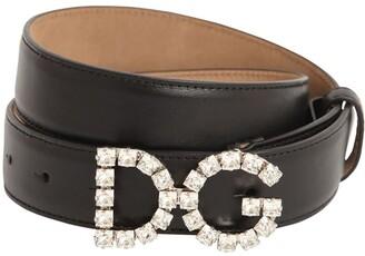 Dolce & Gabbana 25mm Leather Belt W/ Crystal Logo Buckle