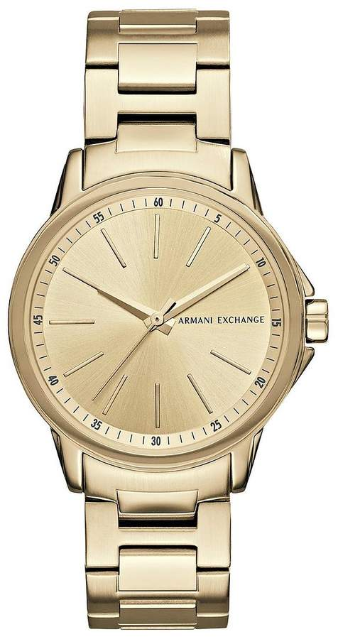 Armani Exchange Gold Tone Dial Stainless Steel Bracelet Ladies Watch
