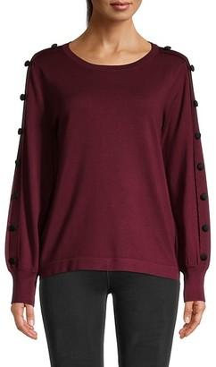 Karl Lagerfeld Paris Button-Sleeve Sweater