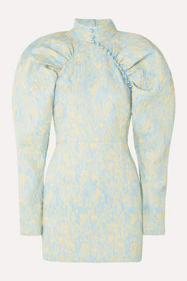 Rotate by Birger Christensen Button-detailed Ruched Crinkled-jacquard Mini Dress - Sky blue