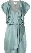 Halston Heritage Wrap-effect silk-satin dress