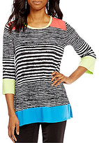Multiples Crew-Neck Stripe Print 3/4 Sleeve Tunic