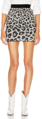Alberta Ferretti Leopard Mini Skirt in Grey | FWRD
