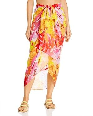 Echo Cutout Floral Pareo Swim Cover-Up