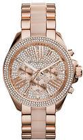 Michael Kors Ladies Wren Rose Goldtone Glitz Chronograph Watch