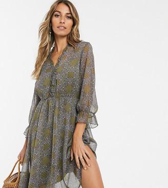 Y.A.S paisley frill detail mini dress