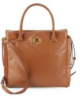 Halston Solid Leather Tote Bag