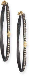 Armenta Old World Pave Diamond Side Hoop Earrings